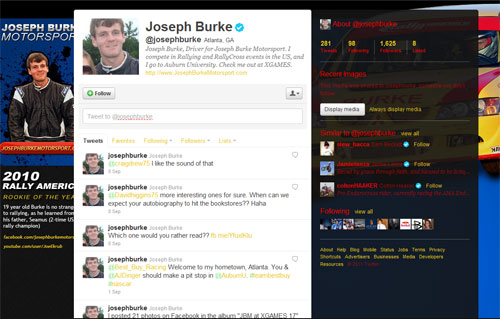 Custom Twitter Design for Joseph Burke Motorsport