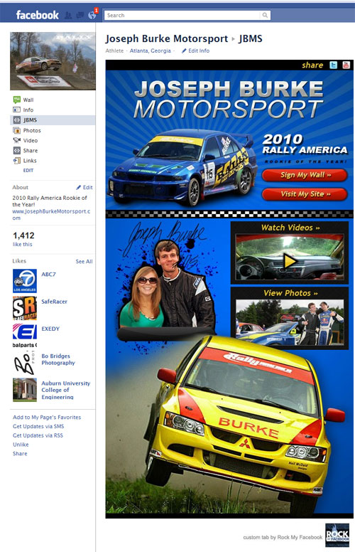 Custom Facebook page for Joseph Burke Motorsport