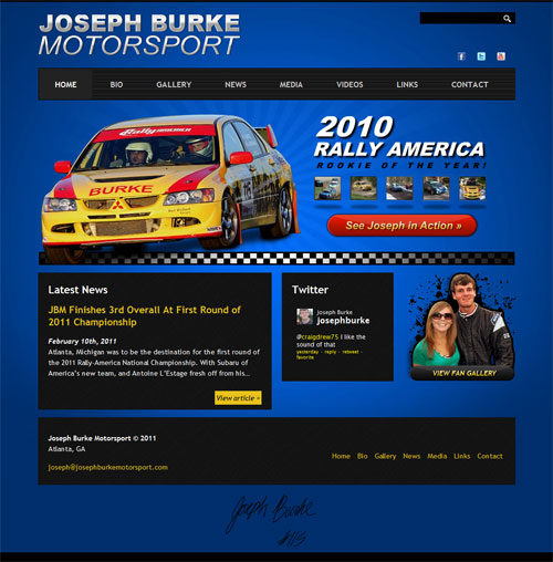 Website Design for Joseph Burke Motorsport