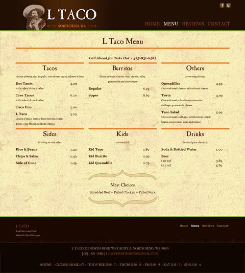 LTaco Mexican Restuarant Menu