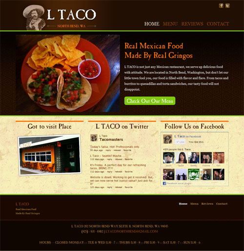 LTaco Mexican Restaurant Website